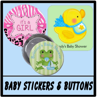 Baby Shower Stickers & Buttons